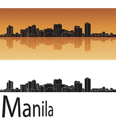 Manila skyline in orange background vector image