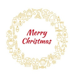 Merry christmas gold line art icons circle vector