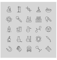 thin line chemistry icons set vector image