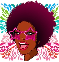 African-American disco glasses with the stars vector image