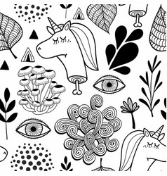 black and white seamless pattern with head of dead vector image vector image