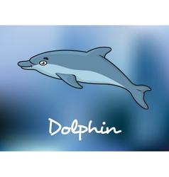 Cute cartoon dolphin in ocean water vector image