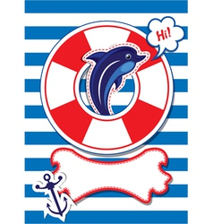 Funny Card with dolphin anchor lifebuoy vector image vector image