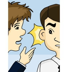 Guy whispering into man ear vector image vector image