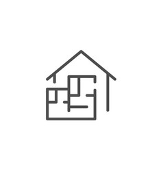 house blueprint line icon vector image vector image