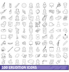 100 erudition icons set outline style vector image