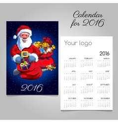 2016 holiday calendar with Santa and gifts vector image