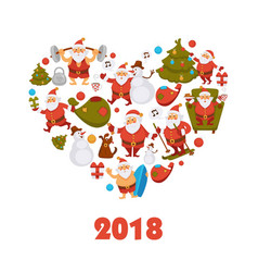 2018 new year santa cartoon character celebrating vector image