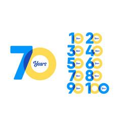 70 years anniversary set celebrations elegant vector