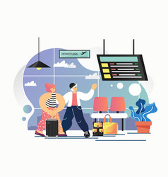 airport departure lounge flat style design vector image