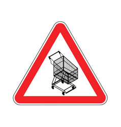 Attention shopping cart dangers of red road sign vector