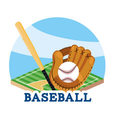 Baseball game with glove and bat in the field vector