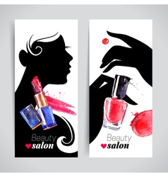 Beautiful woman silhouette watercolor cosmetics vector