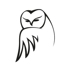 Black and white doodle owl sketch vector image