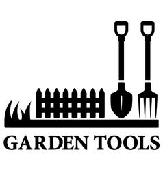 Black gardening symbol with tools vector