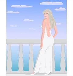 Blonde girl in white dress vector image