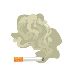 burning cigarette with smoke bad habit nicotine vector image