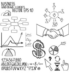 Business elements hand-drawn vector
