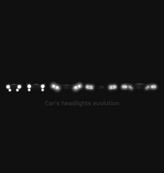 car headlights evolution glowing front headlamps vector image