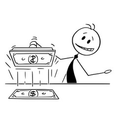 Cartoon banker or politician printing money vector