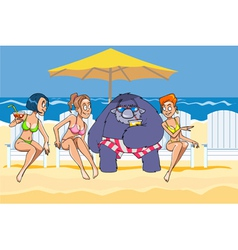 cartoon hairy beast on the beach with the girls vector image