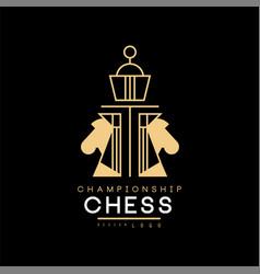 Chess championship logo design element for vector