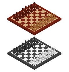 Chess chessboard chessmen on it in black and vector