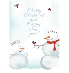 Christmas card with snowmen vector