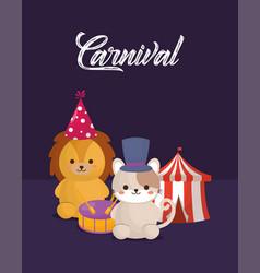 circus animals design vector image