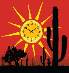 clock in the sun and cactus vector image