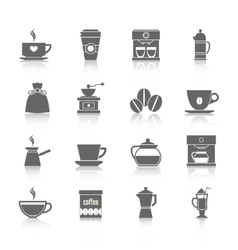 Coffee icons black vector