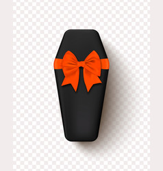 coffin with a bow isolated on a transparent vector image