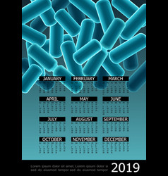 colorful microbiology 2019 year calendar poster vector image