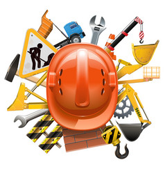 Construction concept with helmet vector
