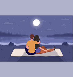 couple on a romantic date at beach vector image