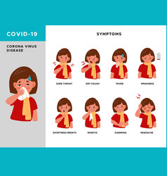 Covid19 symptoms girl characters with cough vector