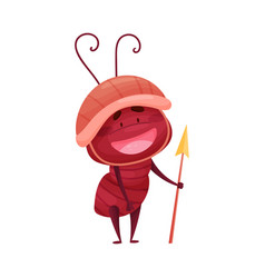 Cute ant character standing with spear and helmet vector