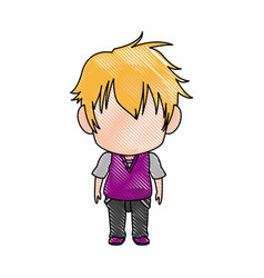 cute little boy anime faceless color image vector image