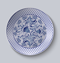 Decorative ceramic plate with a painting Floral vector
