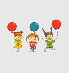 Different girls with color balloons vector