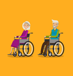 Disabled people in wheelchair cartoon vector