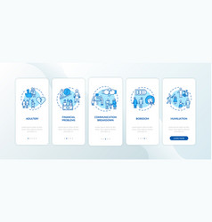 Divorce reasons onboarding mobile app page screen vector