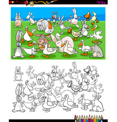 ducks and rabbits characters coloring book vector image