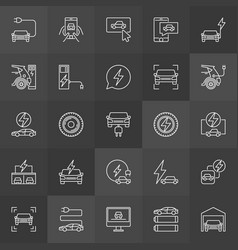 Electric vehicle line icons collection vector