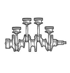 engine pistons on crankshaft sketch engraving vector image