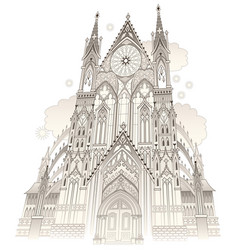 Fantasy drawing old gothic castle with stained vector