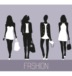 Fashion women shopping vector image
