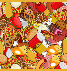 Fast food seamless pattern feed ornament meat vector