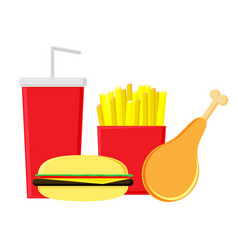 Fastfood on a white background vector