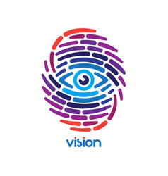 fingerprint with eye vector image